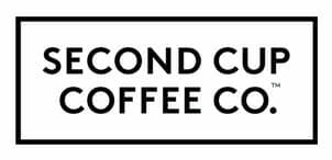 Second Cup Coffee Corporation logo in black font and frame.