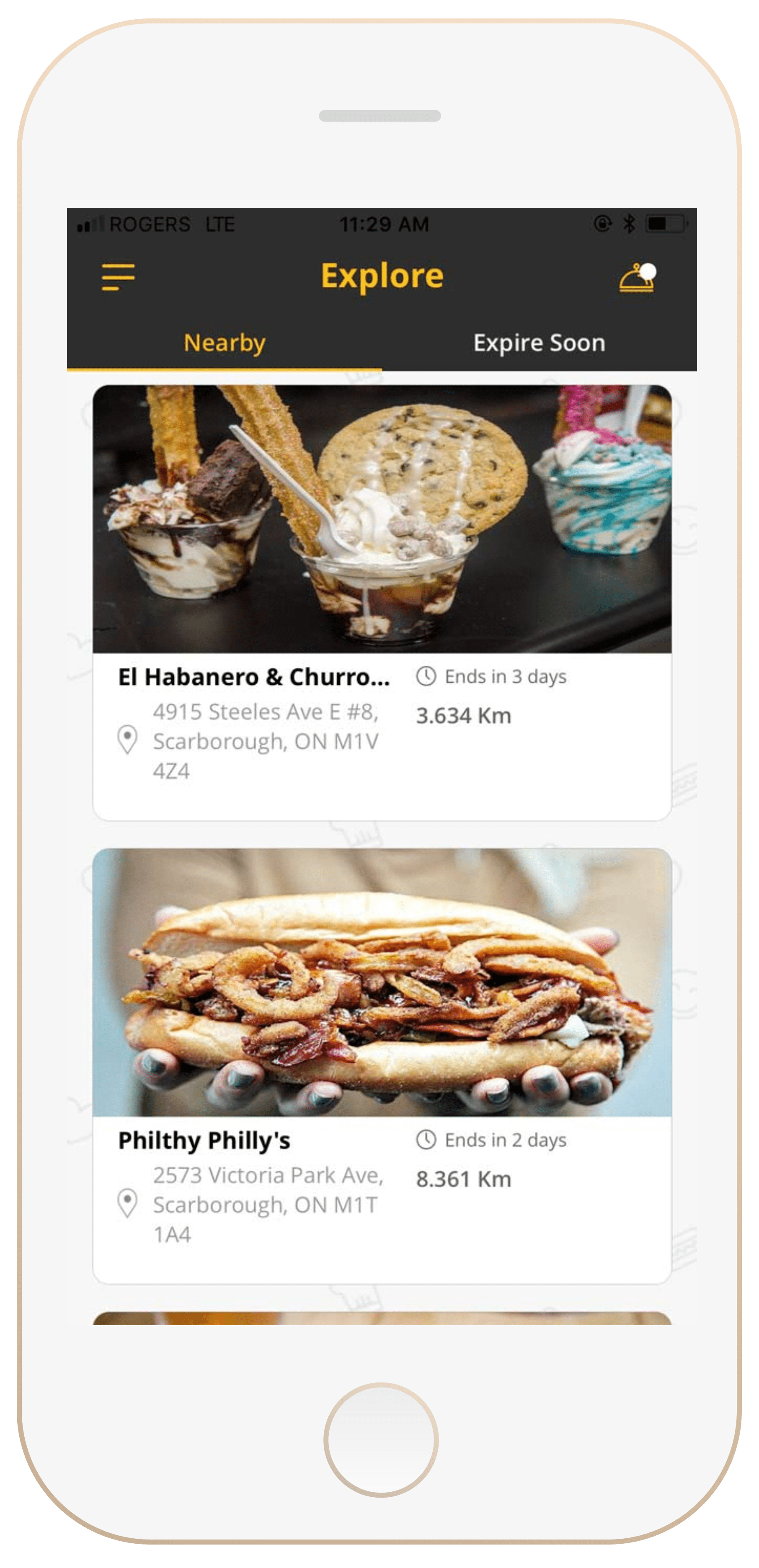 Mobile layout of browsing page node requests that include the location, name of restaurant, and pictures of food.
