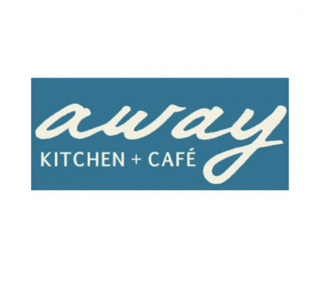 An Away Kitchen and Cafe Logo in off-white font and teal background.
