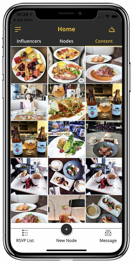 iPhone X Content page for Restaurants to view Influencers's posts.