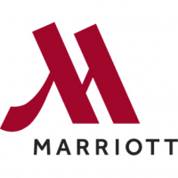 A ruby red Marriott logo.
