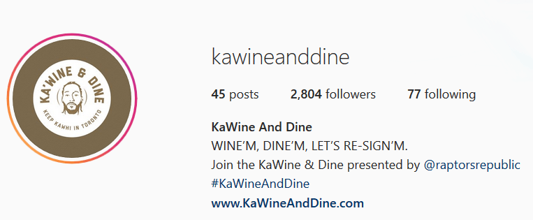 Ka'Wine and Dine Instagram Page