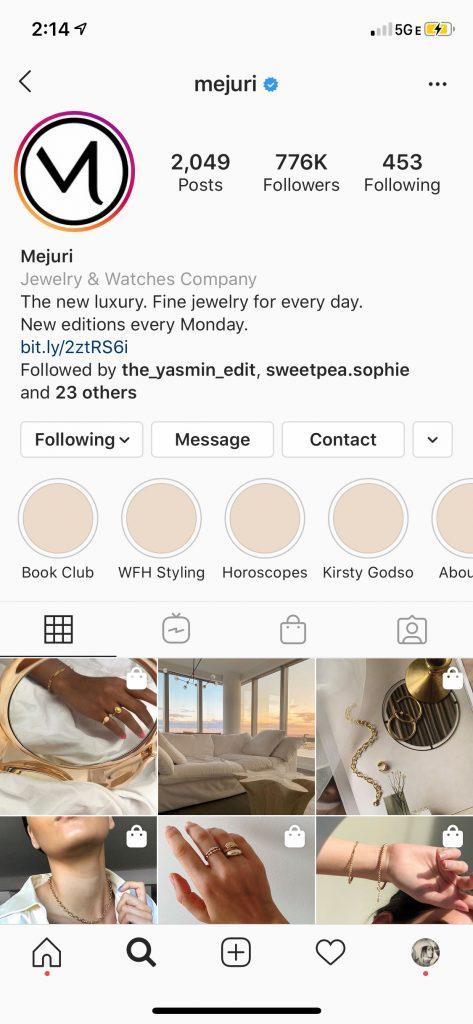 Mejuri Toronto-based Fine Jewelry Brand Instagram