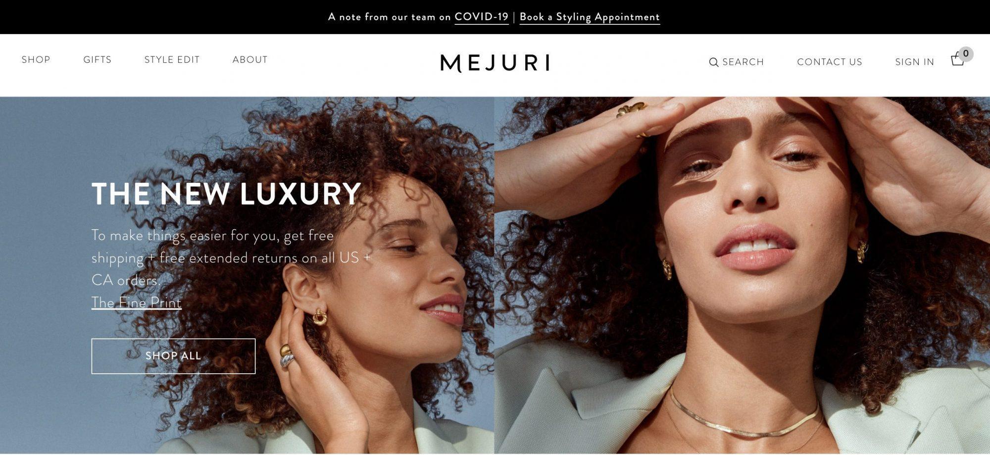 Mejuri Fine Toronto-based Jewelry E-commerce Company Website Home