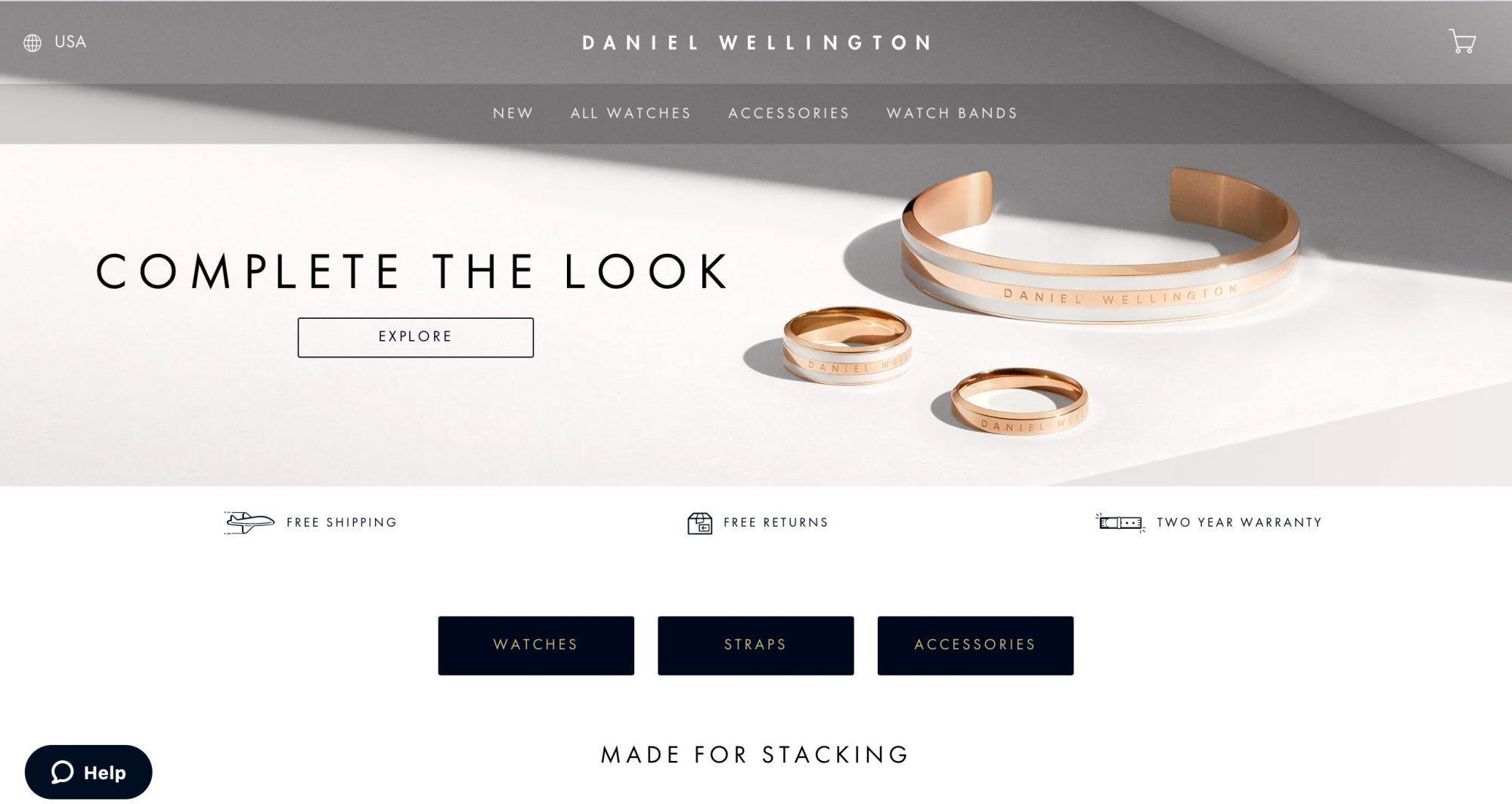 Daniel Wellington Luxury Watch E-commerce Company Website Homepage