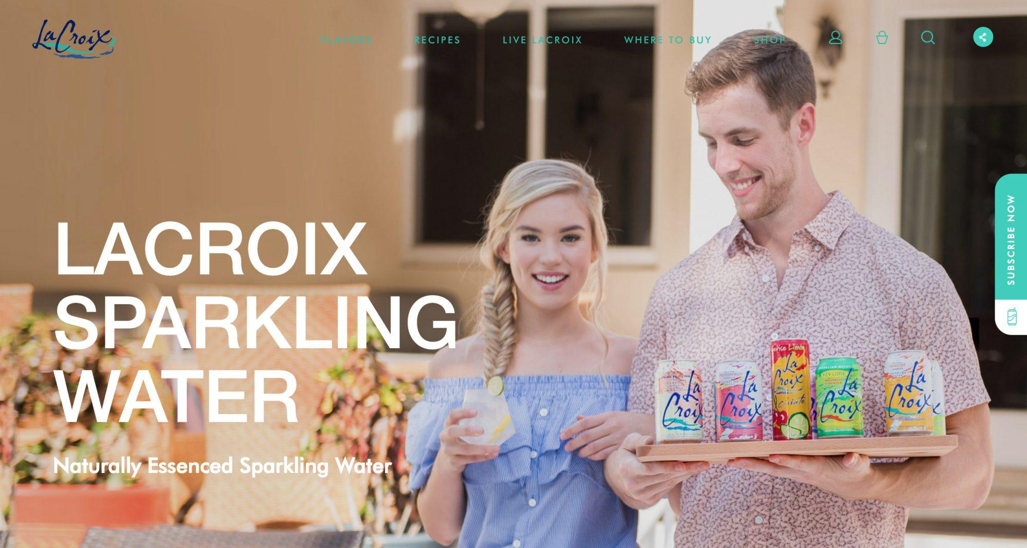La Croix Sparkling Water Company Website Homepage